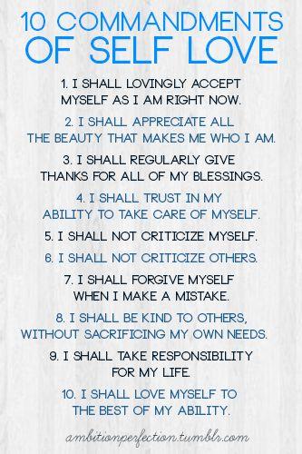 10 commandments of self love